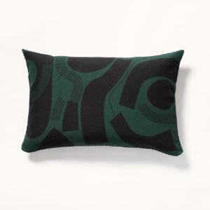 coussin vert en lin motif moderniste