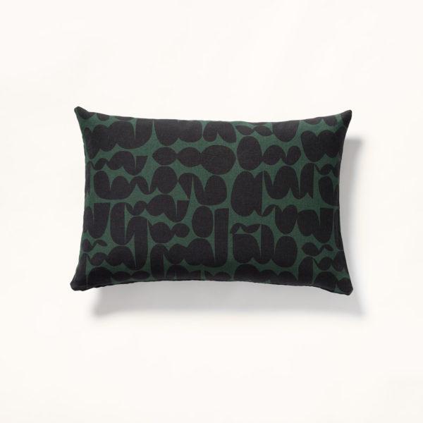 coussin motif ondine noir sur fond vert