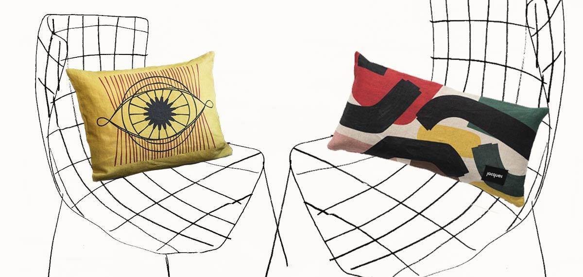 dessin de fauteuil dans le style Bertoïa avec coussin jacques
