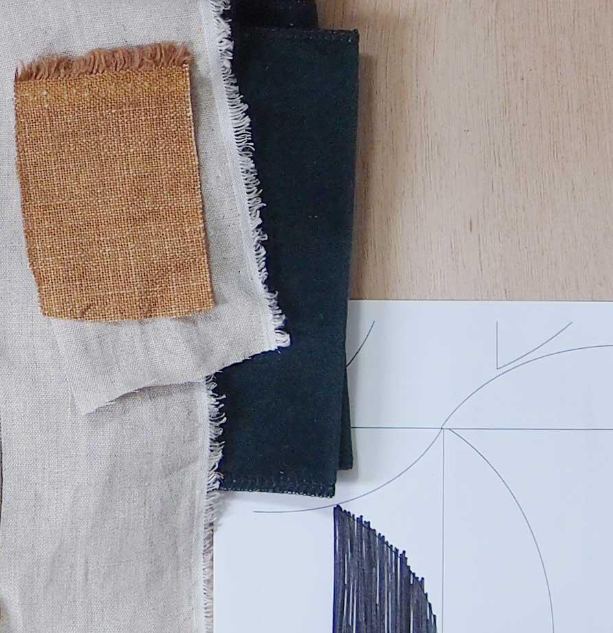 lin, matière pour les coussins jacques