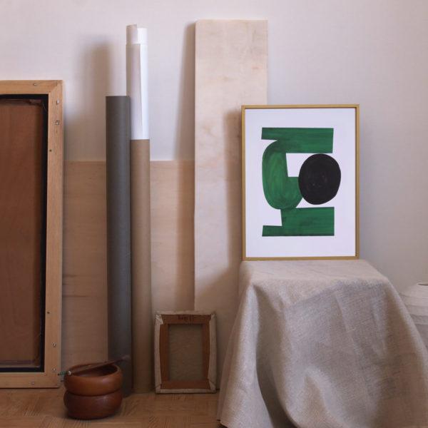 decoration avec art print vintage vert