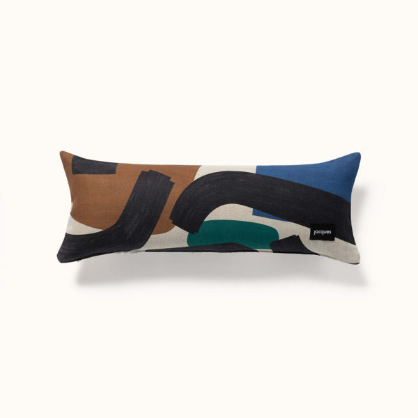 coussin multicolore en lin made in france