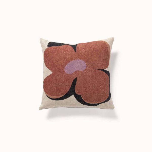 housse de coussin fleur brune, inspiration vintage