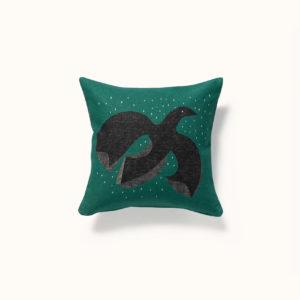 housse de coussin verte motif oiseau