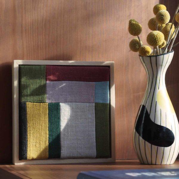 tableau textile en caisse américaine