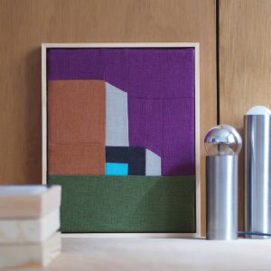 tableau patchwork et lampe vintage